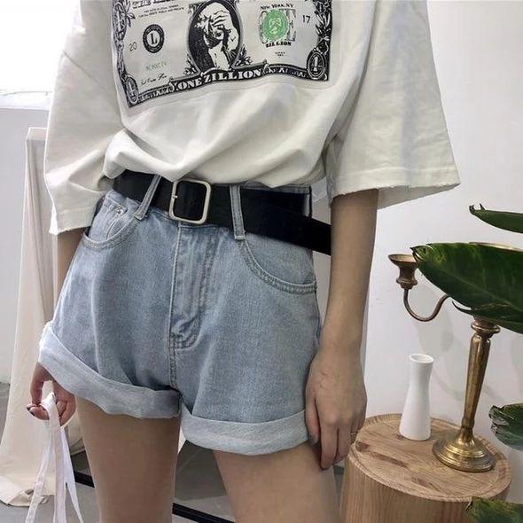 Boyfriend Jeans Women Streetwear Shorts Jeans With Belt Retro Pantalon – rodewe