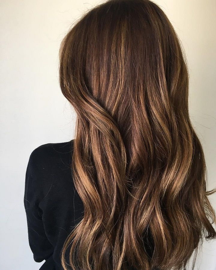Golden Chocolate Brown Hair Color With Highlights For Fall