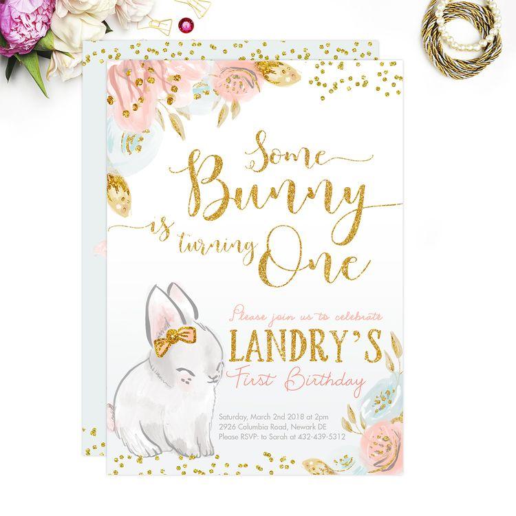 bunny invitation bunny birthday invitation spring birthd