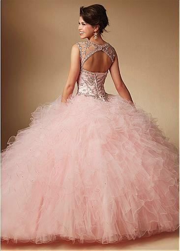 886d3e5eec Brilliant Tulle   Satin Bateau Neckline Ball Gown Quinceanera Dresses