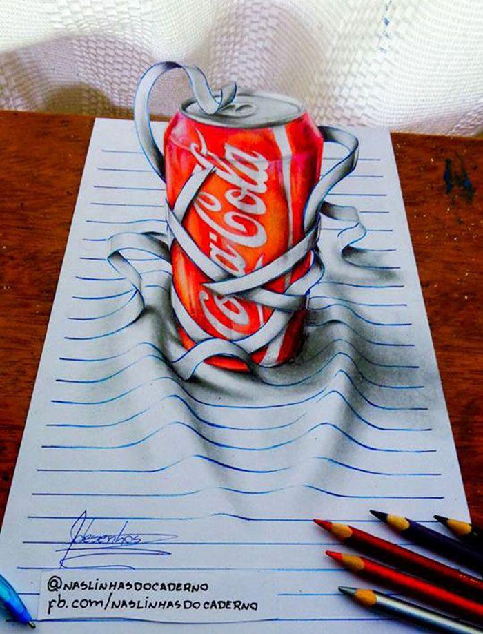 Artista de 16 anos cria rabiscos 3D que saltam da página