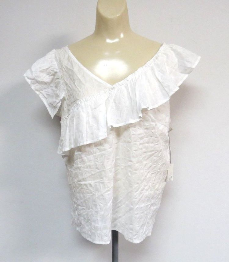 7cb8e9383a8d2 NWT Andeawy Womens Peasant Boho Top Shirt White SIZE M Cot