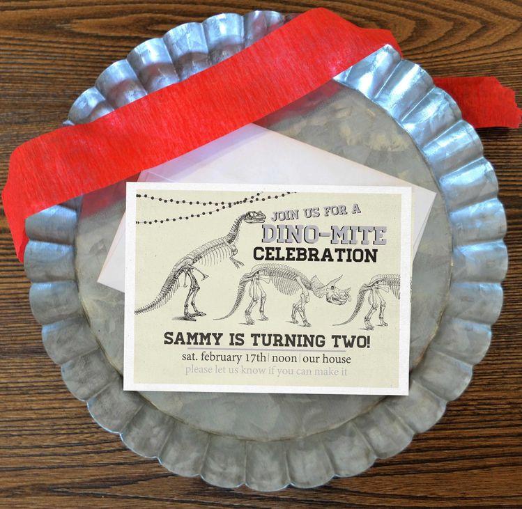 Dinosaur Birthday Invitation FREE SHIPPING Party Invite Baby Boy Second T Rex
