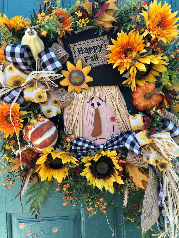 Excited To Share This Item From My Etsy Scarecrow Wreath Fall Door Autumn Wreaths Sunflower Front For