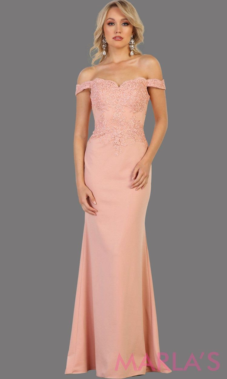 3f5db7e19c91 Marla's Fashion Dresses @marlasfashions. 29w 2. Long dusty rose off  shoulder dress with lace. This sleek and sexy pink dress is