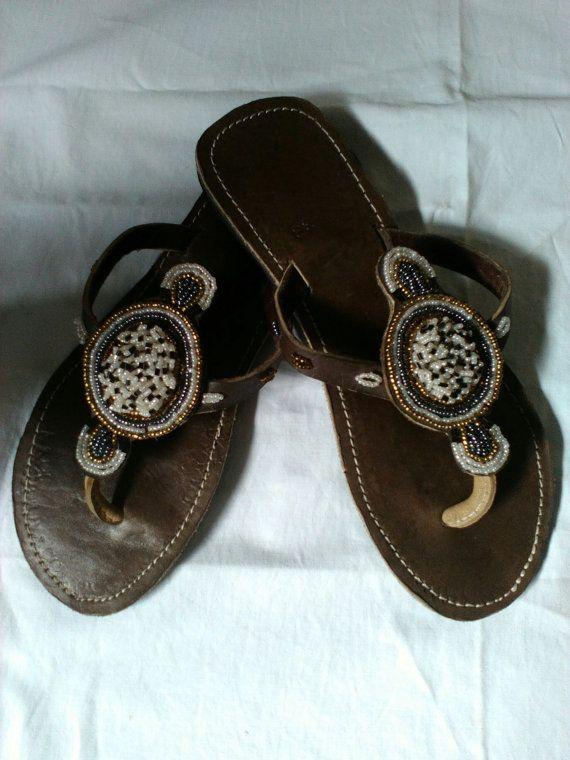 199efcb7394c Silver Moon - Handmade Real Leather Beaded African Kenyan Sandals