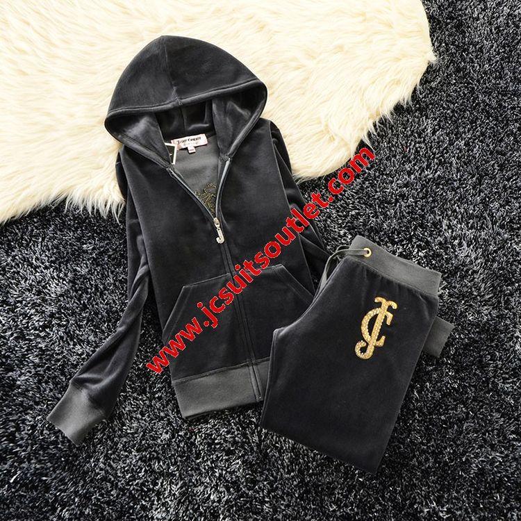 e09dcf5a3293 Juicy Couture Studded JC Crown Velour Tracksuit 6020 2pcs Women Suits Dark  Grey