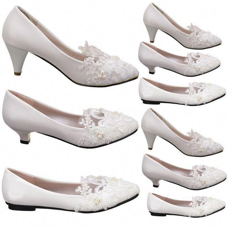 Women White Ivory Lace Wedding Shoes Bridal Bridesmades Flats Low High Heel Pump Promheels