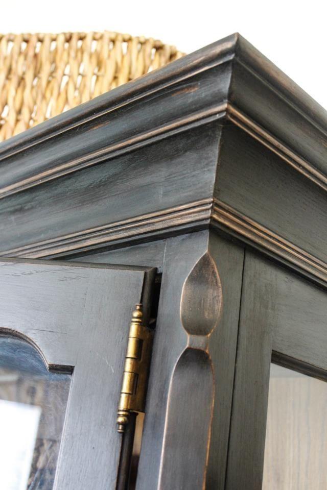 Annie Sloan Graphite paint over oak finish