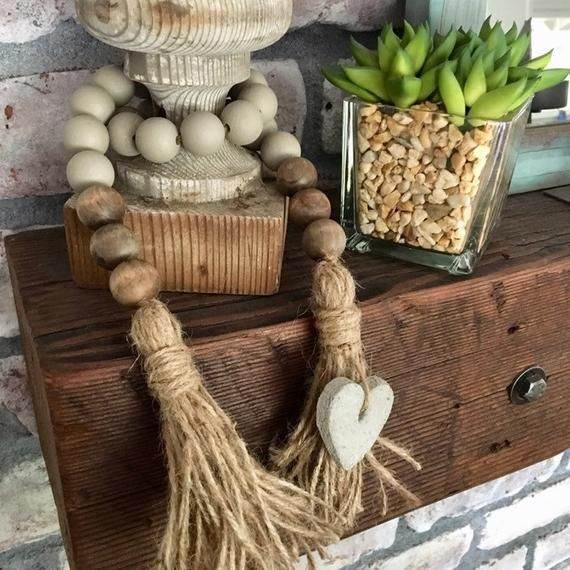 Wood bead garland with heart and jute tassels, Gray and brown farmhouse wood bead strand