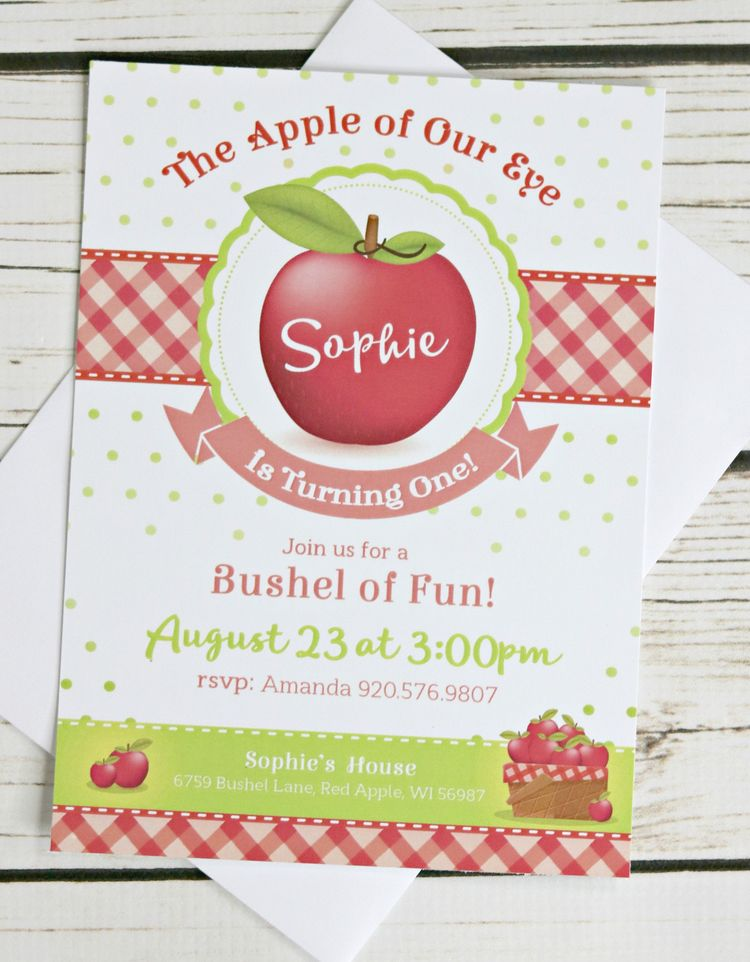 APPLE BIRTHDAY PARTY Invitation Apple Invite Of My Eye Girl 1st Birthday Decor Picking Orchard By CharmingTouchParties On Etsy