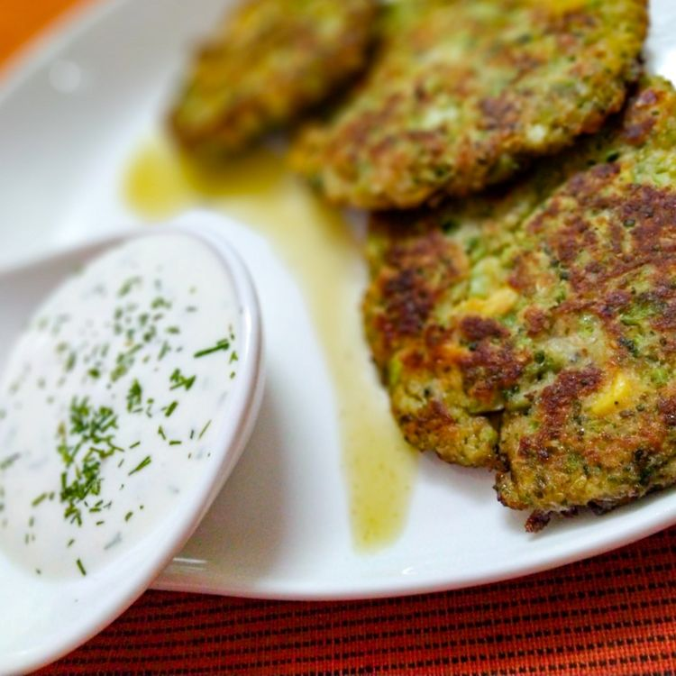 These light, golden-brown Broccoli Fritters make a delicious vegetarian dinner or lunch — and kids love them, too! Ready in less than 30 minutes. #broccoli #healthy #lunch #vegetarian