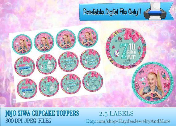8a3d57be11 JoJo Siwa Cupcake Toppers Birthday JoJo Siwa Theme Etiquetas