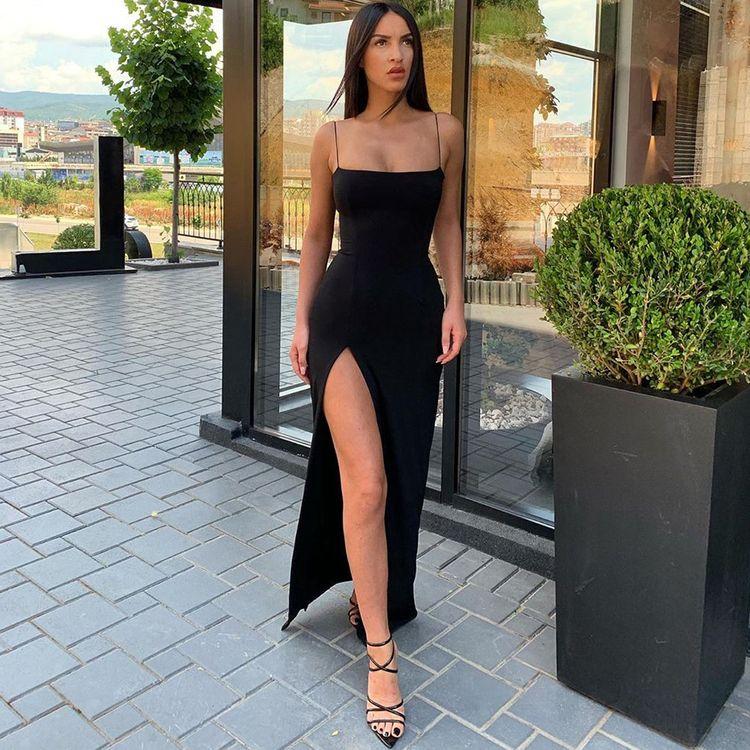 Toplook Split Sexy Maxi Long Dress Autumn Winter Sleeveless Women Party Spaghetti Strap Dress Elegant Outfits Pure Clothing – fashion #Elegant Outfits #long black dress