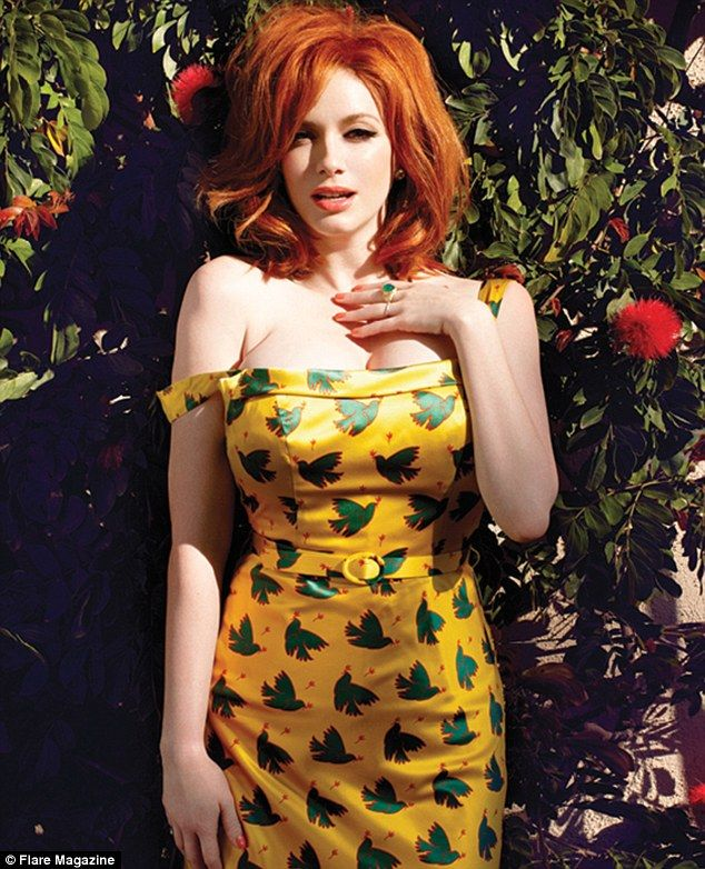 Actress Christina Hendricks pours out of a yellow dress with green peace doves inside the May 2013 issue of Flare Magazine