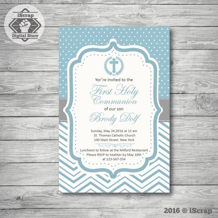 invitación para imprimir bautismo o comunion niño invitaci
