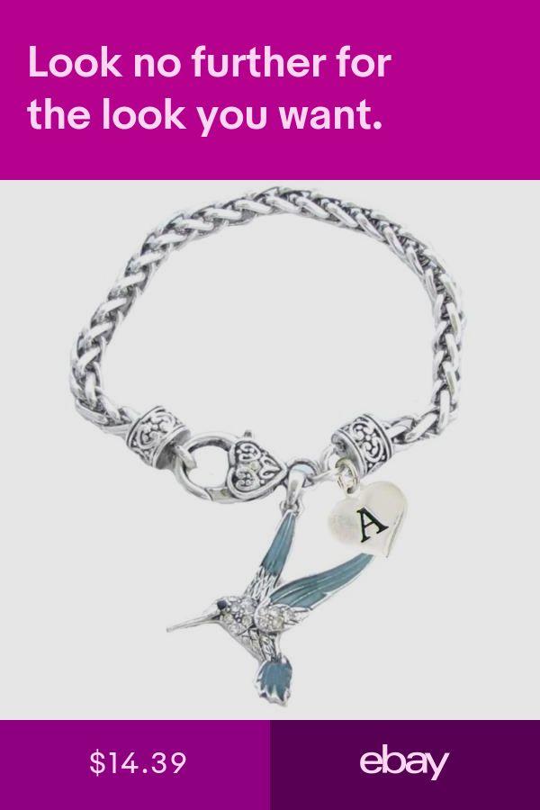 3ef3cb90618 Custom Blue Green Hummingbird Silver Bracelet Jewelry Choose Initial or  Family