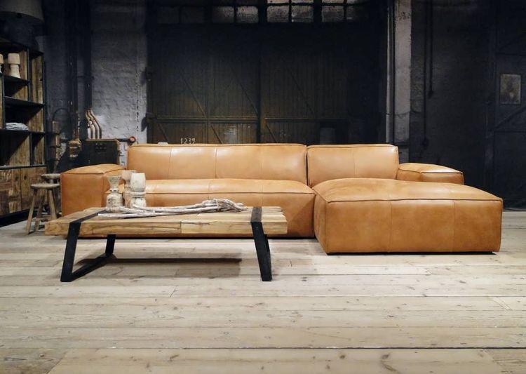 Chaise Longue Leer : Lederen bankstellen met chaise longue in leer en stof