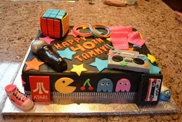 80s Themed Birthday Cake Rectangle One Tier