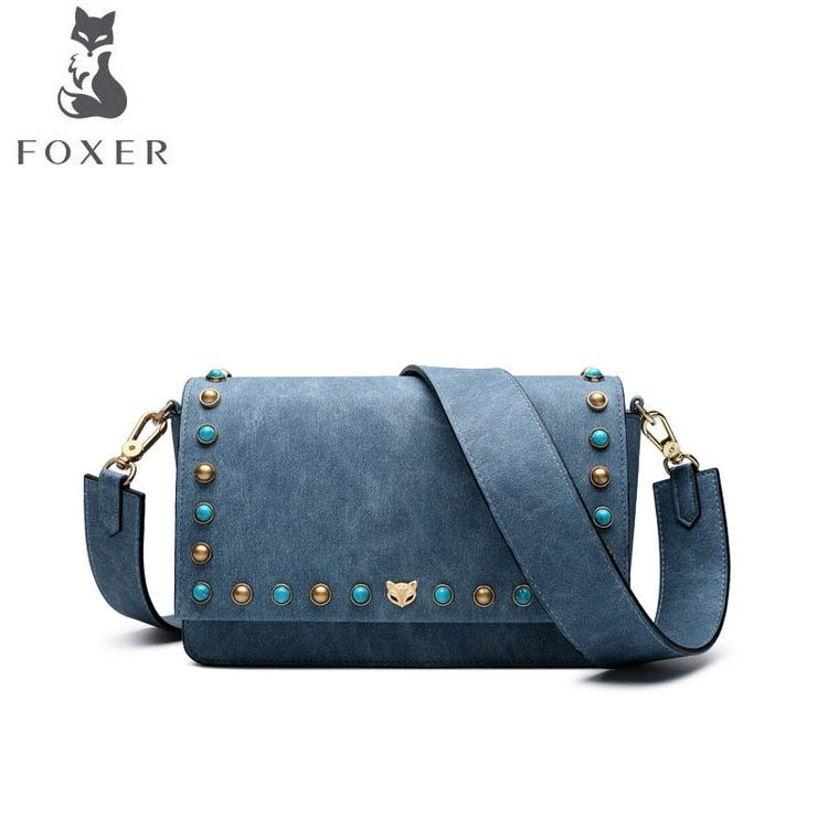 f1d87376b5b6 FOXER 2018 New women Leather bag fashion luxury handbags women famous brand  Simple rivet women leather shoulder Crossbody Bag