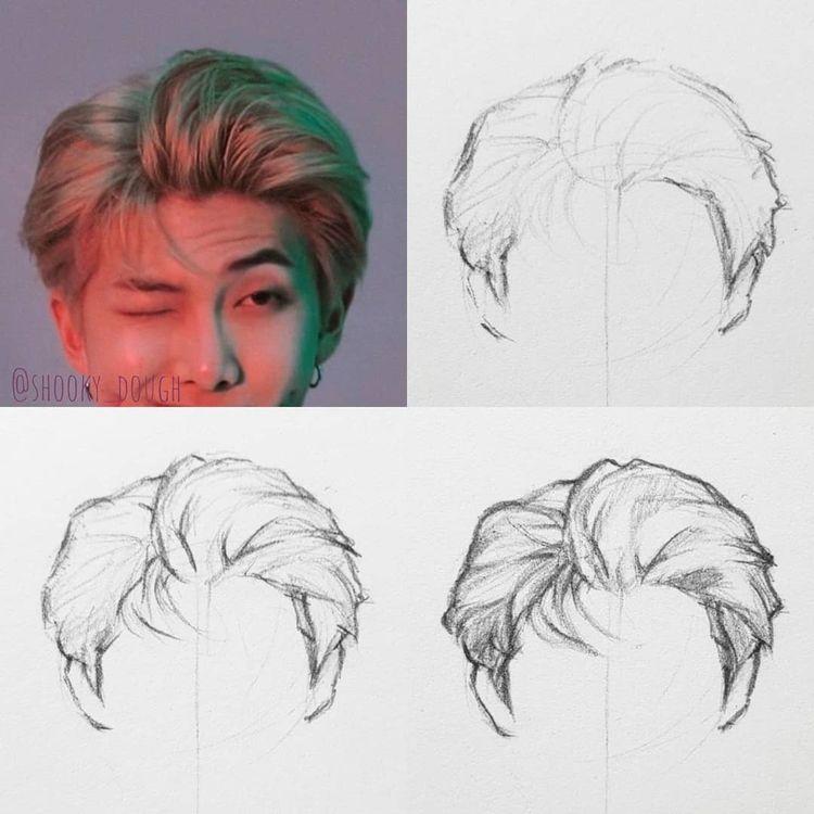 """• Nikki • no Instagram: """"Degraus de cabelo!  (não há maneira certa ou errada de desenhar o cabelo é o que funciona melhor para mim) 😊 ⠀ Passo 1 - faça um esboço de alguns ... """""""