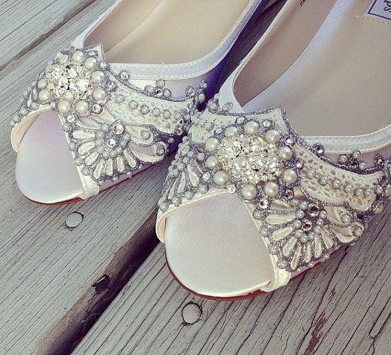 1a719d44de6f0 Wedding Shoes - Art Deco Inspired Peep Toe Wedge - Lace, Cr