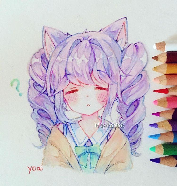 """Yoai / Anny / Cicishu (ᴗ ᴗ •) no Instagram: """"Practice (・ ω ・ `) Eu fui perguntado antes como eu pego cores pastel com lápis de cor - eu apenas coloco as cores normais e depois misturo…"""""""