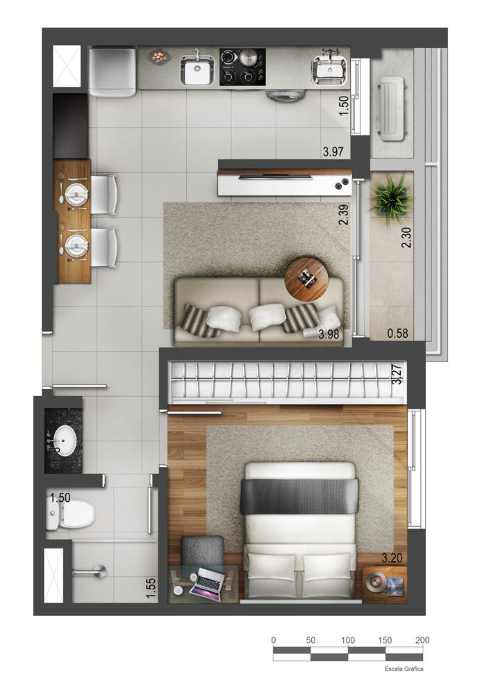 Loft moderno com 2 quartos small houses Pinterest Lofts, Tiny - plan de maison 3d gratuit