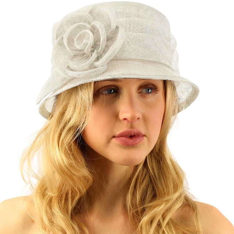 cfe057c8ac557 Summer 1920s Flapper Sinamay Floral Cloche Bucket Millinery Church Hat -  Ivory - CN11JQRJK7T