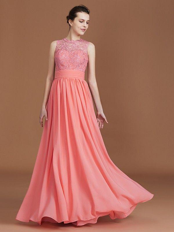 aef9333a1bc7 Stunning A-Line Jewel Sleeveless Lace Long Chiffon Bridesmaid Dresses