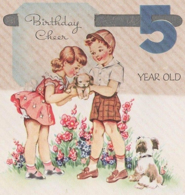 Vintage Birthday Card5 Years Old Boy GirlDie Cut1930s