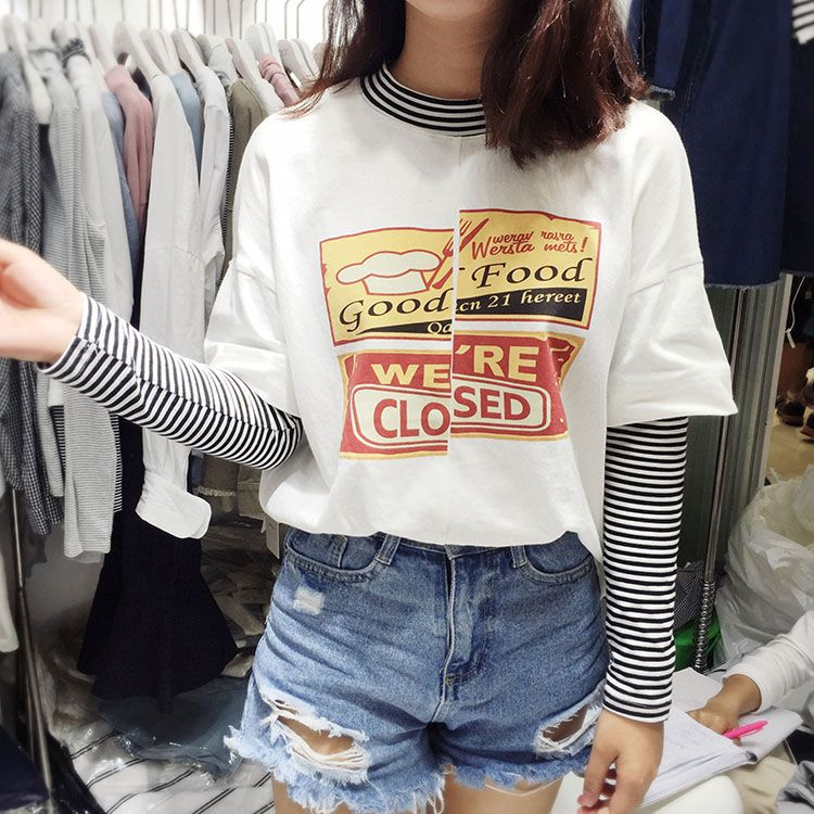 Buy Melon Juice Mock Two-Piece Long-Sleeved T-Shirt | YesStyle