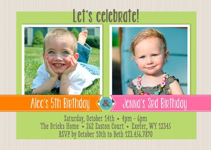 Sibling Celebration Joint Birthday Party Invitations