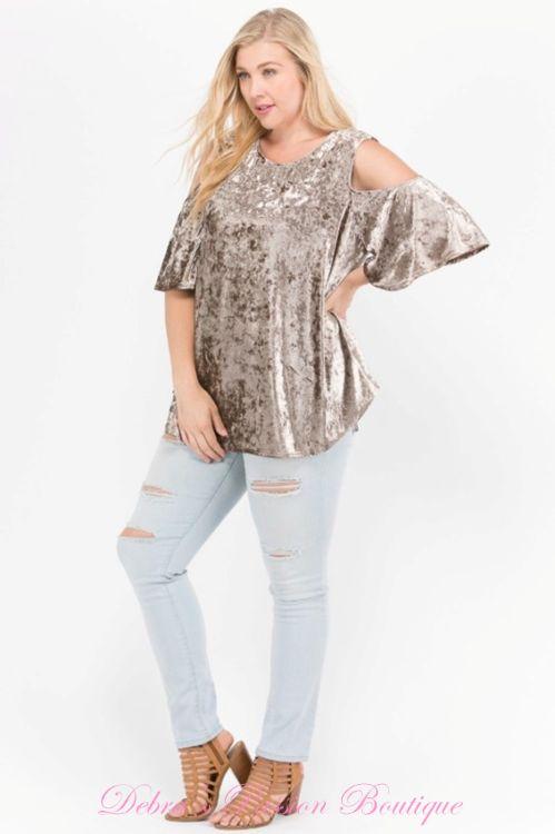 99a18a027ce Janette Plus Premium Plus Size Apparel Soft Crushed Velvet cold shoulder  swing babydoll tops. Keyhole