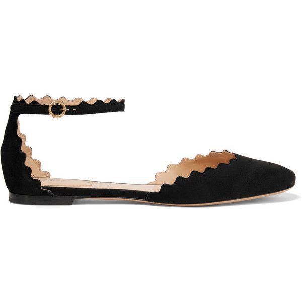 51a0ba3f8 Chloé Scalloped suede ballet flats ($485) ❤ liked on Polyvore featuring  shoes…