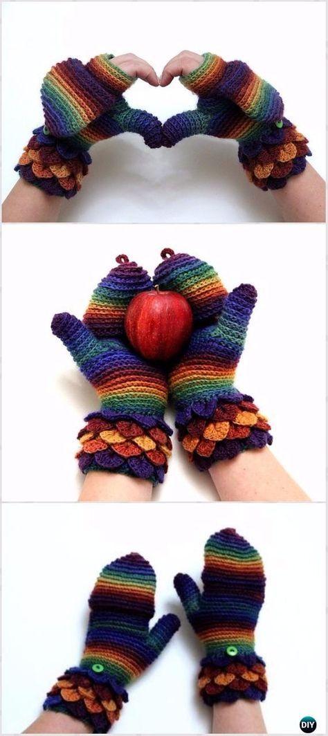 Crochet Crocodile Stitch Mittens Free Pattern Limited Tim