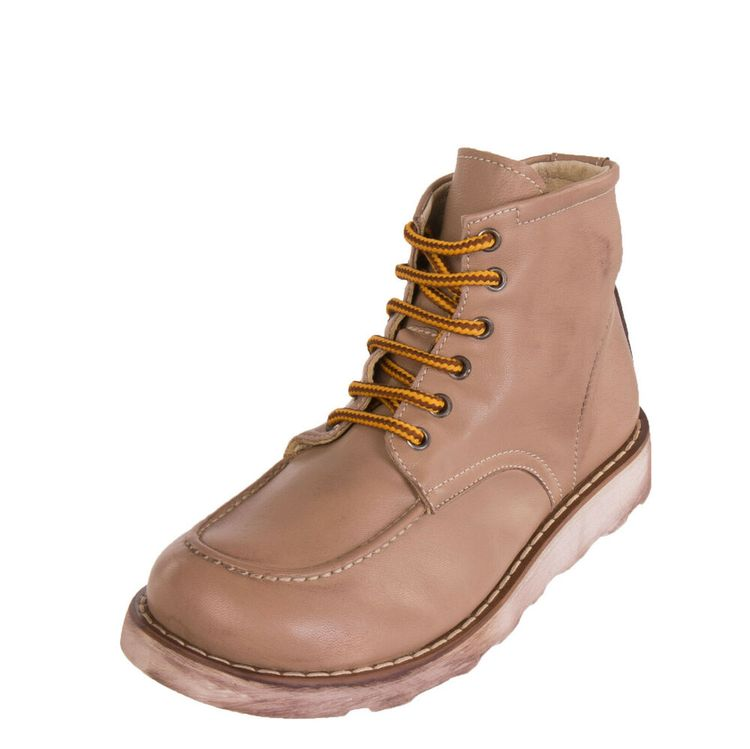 detailed look 3781a 475f5 FM EUREKA Leather Ankle Boots Size 32 UK 13 Dirty Look Lace Up Closure Moc  Toe
