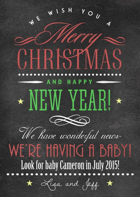 new year new baby pregnancy announcement christmas pregnancy announcements chalkboard we wish you red green we