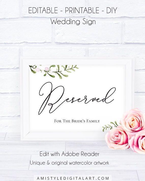 printable wedding reserved sign template download weddi