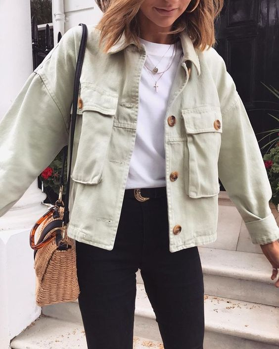 oversize cotton coat women's casual coats online button up shirt jacket coats big pocket jacket long sleeve shirt jacket outfit women street style #spring #shirtjacket #pockets #springcoat #coats #buttonup #jackets
