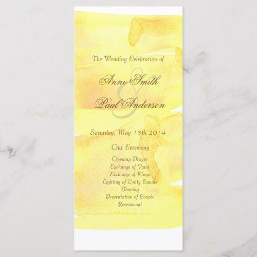 yellow watercolor wedding program