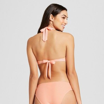 922b0fa7e6 Women's Ribbed Cut Out Bralette Bikini Top - Mossimo™ Melon Ball M