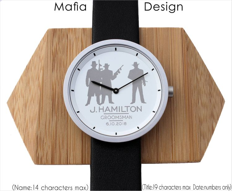 Personalized Engraved Watch Gifts Groomsmen Watches 12 Designs Black White Wedding
