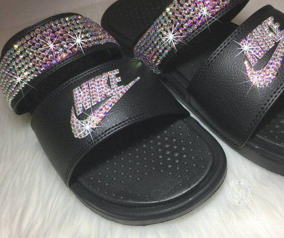 eab2547855c6 Swarovski Nike - Bling Nike Duo Slides - Bling Sandals - Cr