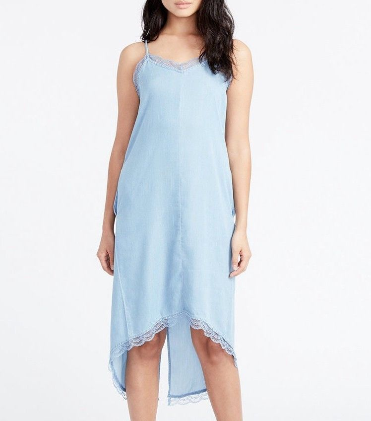 6408cbd47d9f NWT Rachel Roy Womens Dress Light Blue Denim Lace Hi-Low Slip Size Medium #