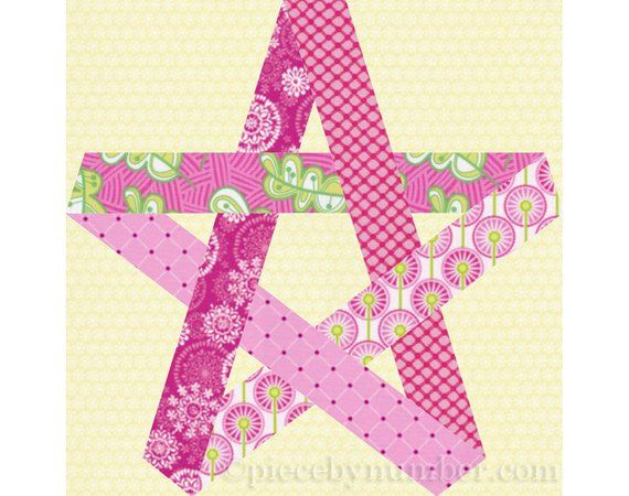 Pentagram Star Quilt Block Pattern Paper Pieced Quilt Pat Impressive 5 Point Star Quilt Pattern