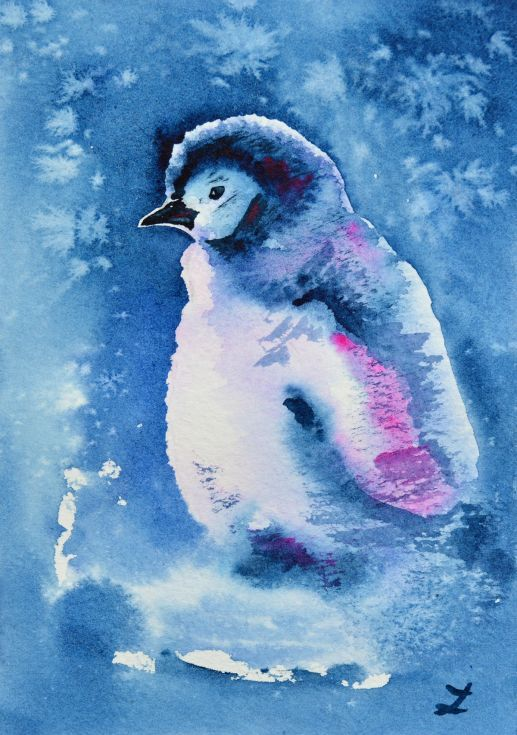 ARTFINDER: Penguin Chick by Zaira Dzhaubaeva - Cute penguin baby in the snow.  Original miniature watercolor painting on highest quality mould-made 100% cotton, acid free, 300 gsm cold pressed watercolo...