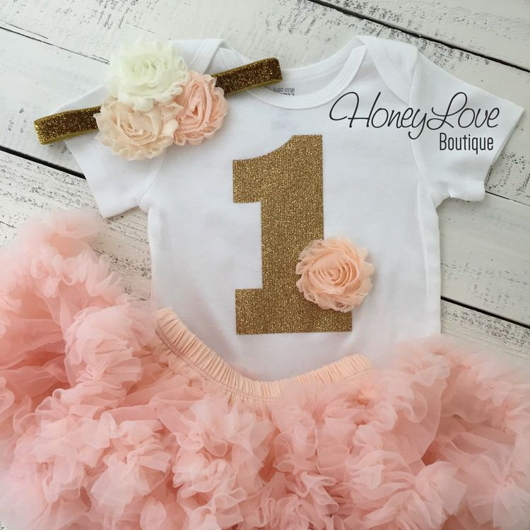41cd57dcf 1st Birthday Outfit - Peach, Ivory and Gold