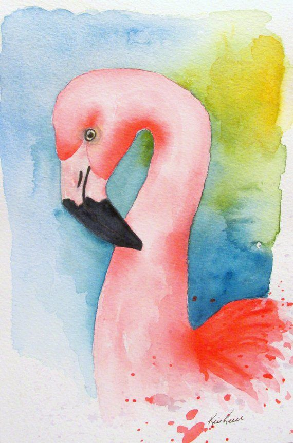 Flamingo Watercolor Print, Bird Print, 5x7 Matted Print, Pink Wall Art, Flamingo Painting, 8x10 Prin