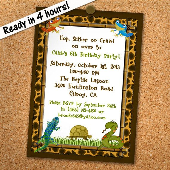 Reptile Party Invitation Printable Personalized By PrintedParty